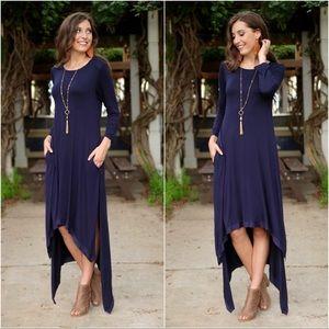 Navy High Low Dress